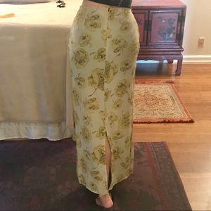 temper Skirts - Vintage floral maxi skirt with slit